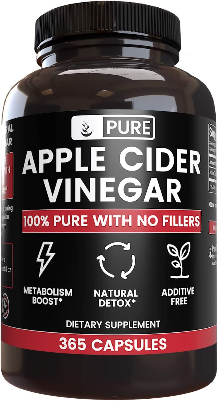 Raw 100% Natural Apple Cider Vinegar No Magnesium Stearate or Rice Fillers (365 Capsules) 4 Month Supply, Non-GMO, Made in USA, 1,440 mg Undiluted ACV Powder with No Additives