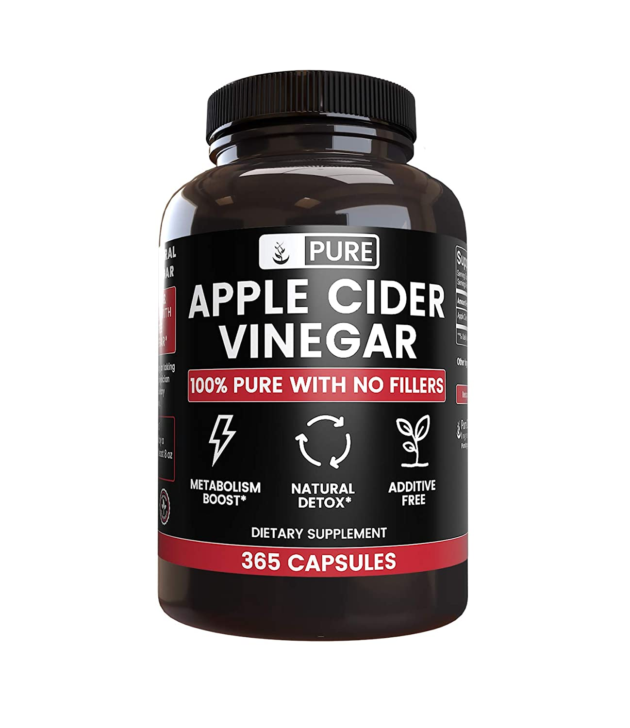 Raw 100 Natural Apple Cider Vinegar No Magnesium Stearate or Rice Fillers 365 Capsules 4 Month Supply, Non-GMO, Made in USA, 1,440 mg Undiluted ACV Powder with No Additives