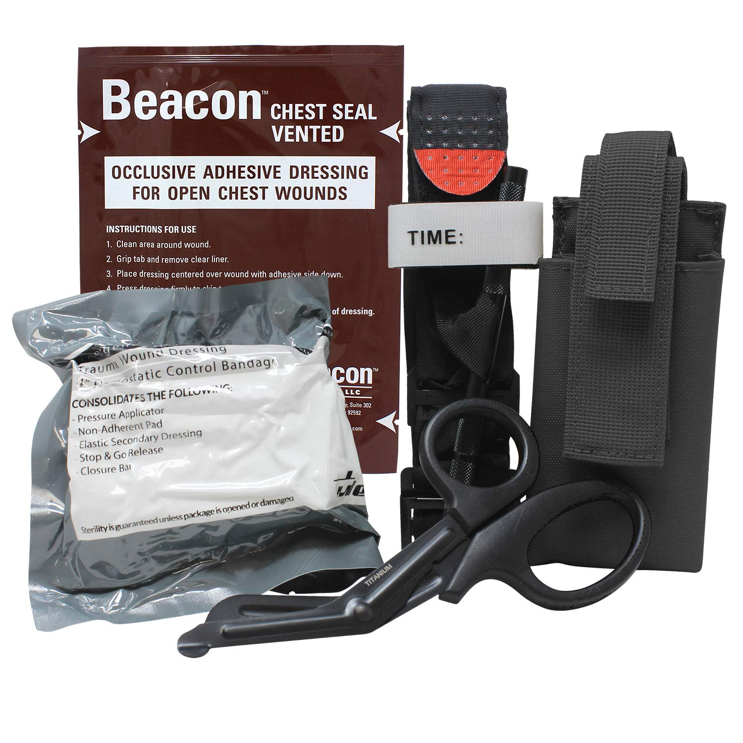 MediTac Gen 2 Deluxe Combo IFAK Kit - Feat. Tourniquet and Holder, Beacon Vented Chest Seal, Emergency Hemostatic Control Bandage and Titanium EMS Shears - Black by MediTac