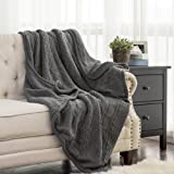 "Knitted Throw Blanket with Sherpa Dark Grey Reversible Fuzzy Fleece Blanket 50""x60"" for Bed and Couch by Bedsure"
