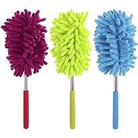 BESTOMZ Microvezel plumeau, uittrekbaar, handwasbaar, stofborstel met telescoopstang, 3 stuks