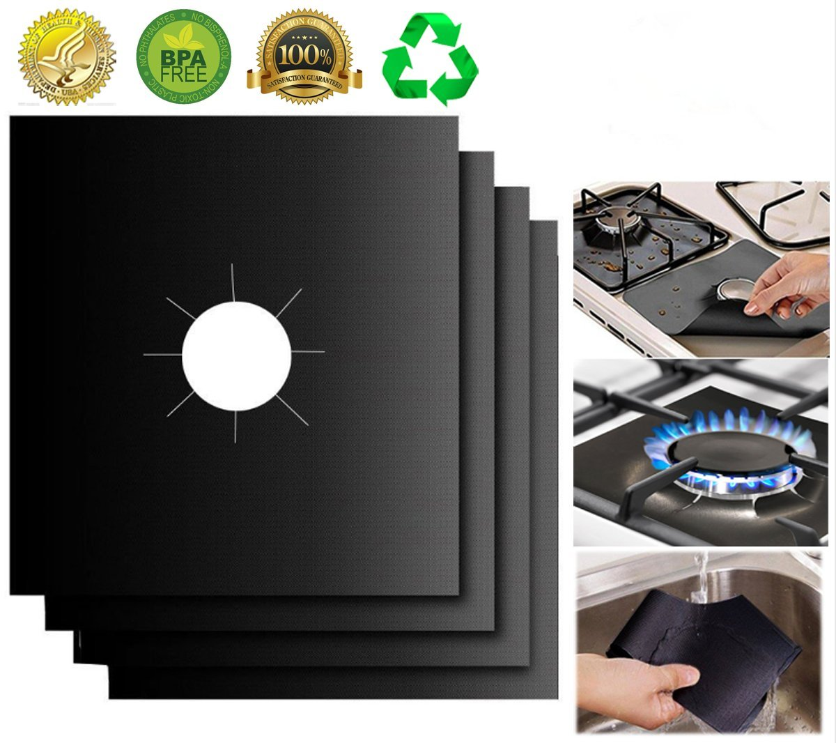 "XZSUN Gas Stove Burner Covers 10 Pack 0.2mm Double Thickness Reusable Gas Range Protectors for Kitchen&Cooking (10.6""x10.6"""