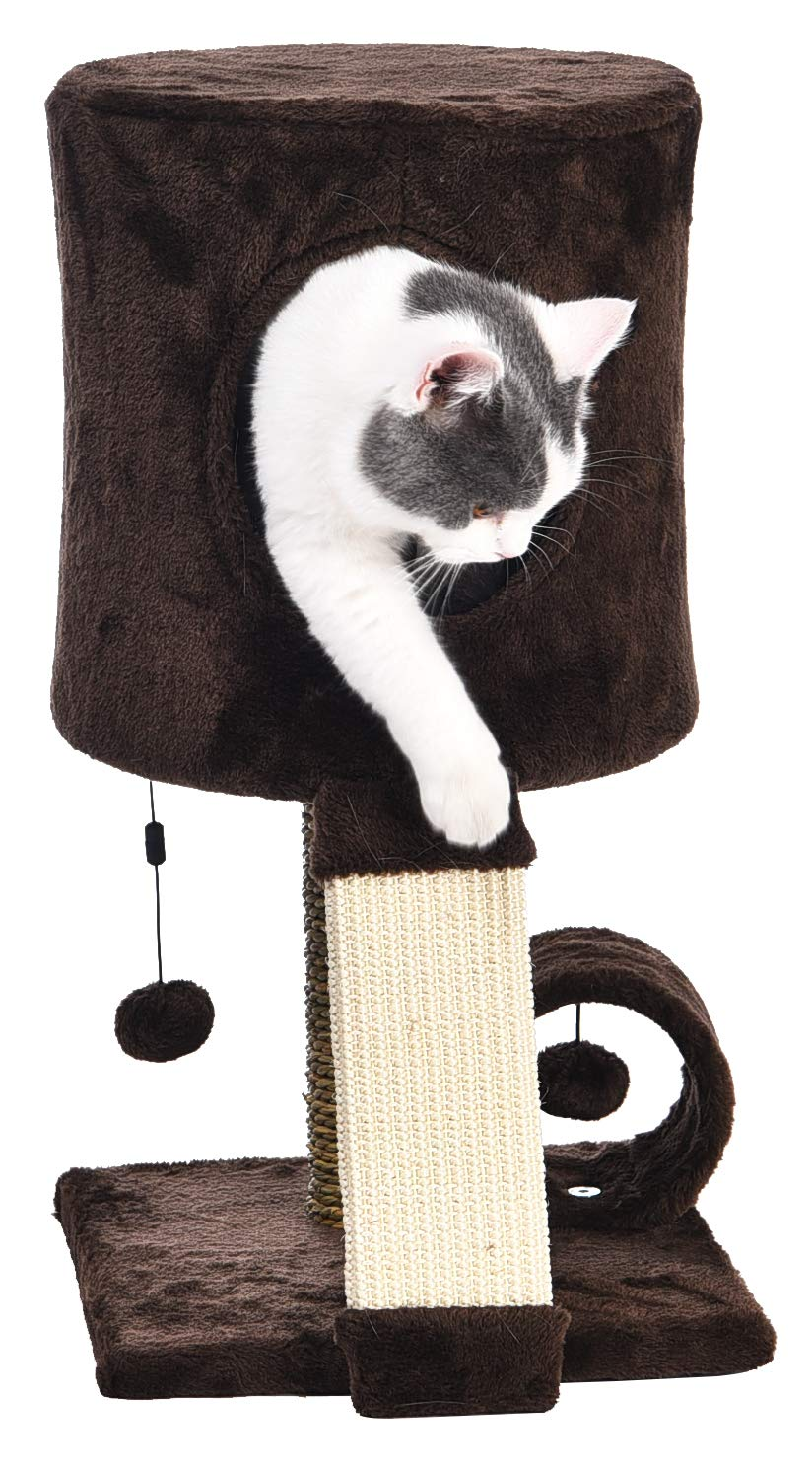 AmazonBasics Cat Tree Tower With Perch Condo - 12 x 12 x 20 Inches, Dark Brown