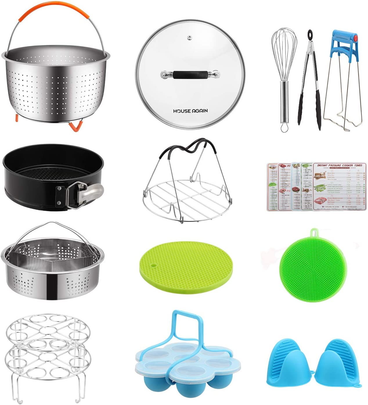 Gift Pack Accessories Set for Pressure Cookers, Universal Compatible with 5/6/8 Qt - Original Sturdy Steamer Basket with Instant Pot Accessories for All of Life's Need, Dishwasher Safe