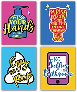 """Funny No Selfies in The Bathroom Colorful Toilet Inspirational Quotes Art Print Humorous Quotes Painting, Toilet Rules Art Picture for Washroom Bathroom Decor, Set of 4 (8""""X10""""), No Frame"""