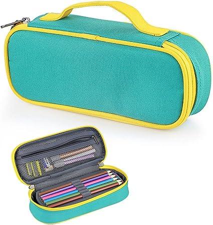 Estuche grande para lápices Fuyao, varios compartimentos, papelería escolar y oficina, estuche organizador para estudiantes., color verde: Amazon.es: Oficina y papelería