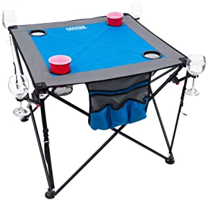 Creative Outdoor Distributor 820118-Blue/Grey Folding Cupholders & Wineglass Holders Wine Table, Blue/Grey
