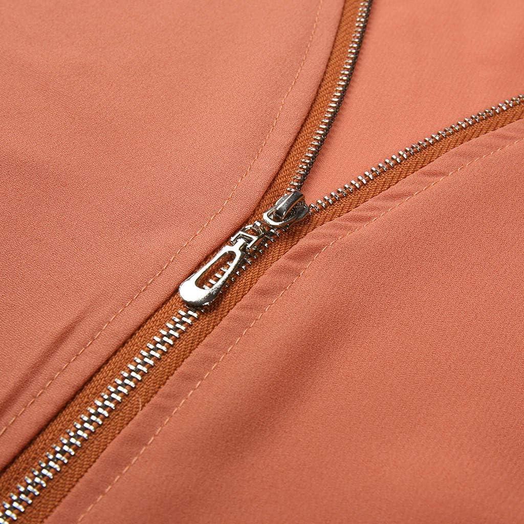 Ladies Zipper Button Long Sleeves Loose Casual Chiffon Shirt Clothing HighlifeS/_Women T-Shirt Top