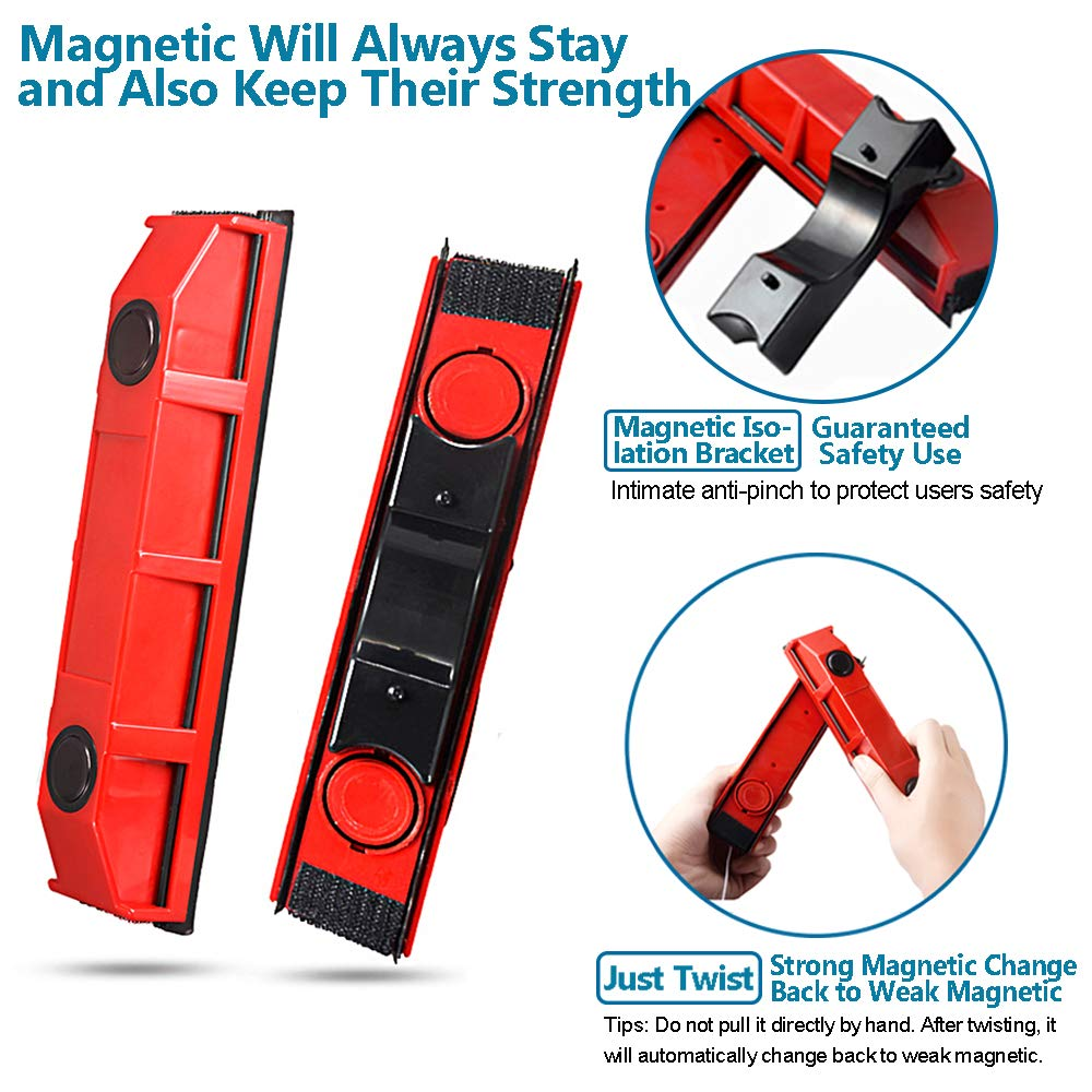 Magnetic Window Cleaner Squeegee Cleaning Brushes Tools for 0.1''-0.3'' Single Glazed Glass Suitable for Windows,Sliding Doors,Shower Screens,Car Windshields or Any Glass Surfaces by Acylulu Online (Image #3)