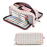 ANGOOBABY Large Pencil Case Big Capacity 3 Compartments Canvas Pencil Pouch for Teen Boys Girls School Students (Pink Strip Black Grid) (Color: Pink Strip Black Grid)