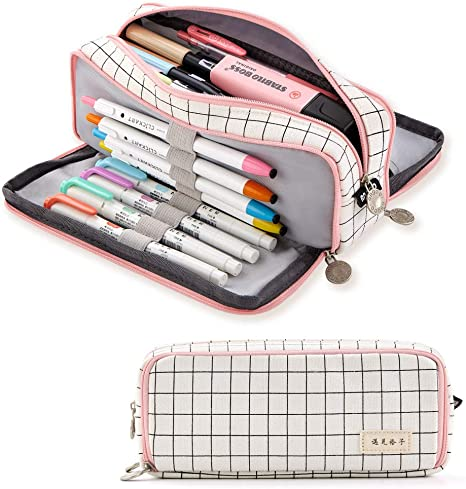 Amazon Com Angoobaby Large Pencil Case Big Capacity 3 Compartments Canvas Pencil Pouch For Teen Boys Girls School Students Pink Strip Black Grid Arts Crafts Sewing