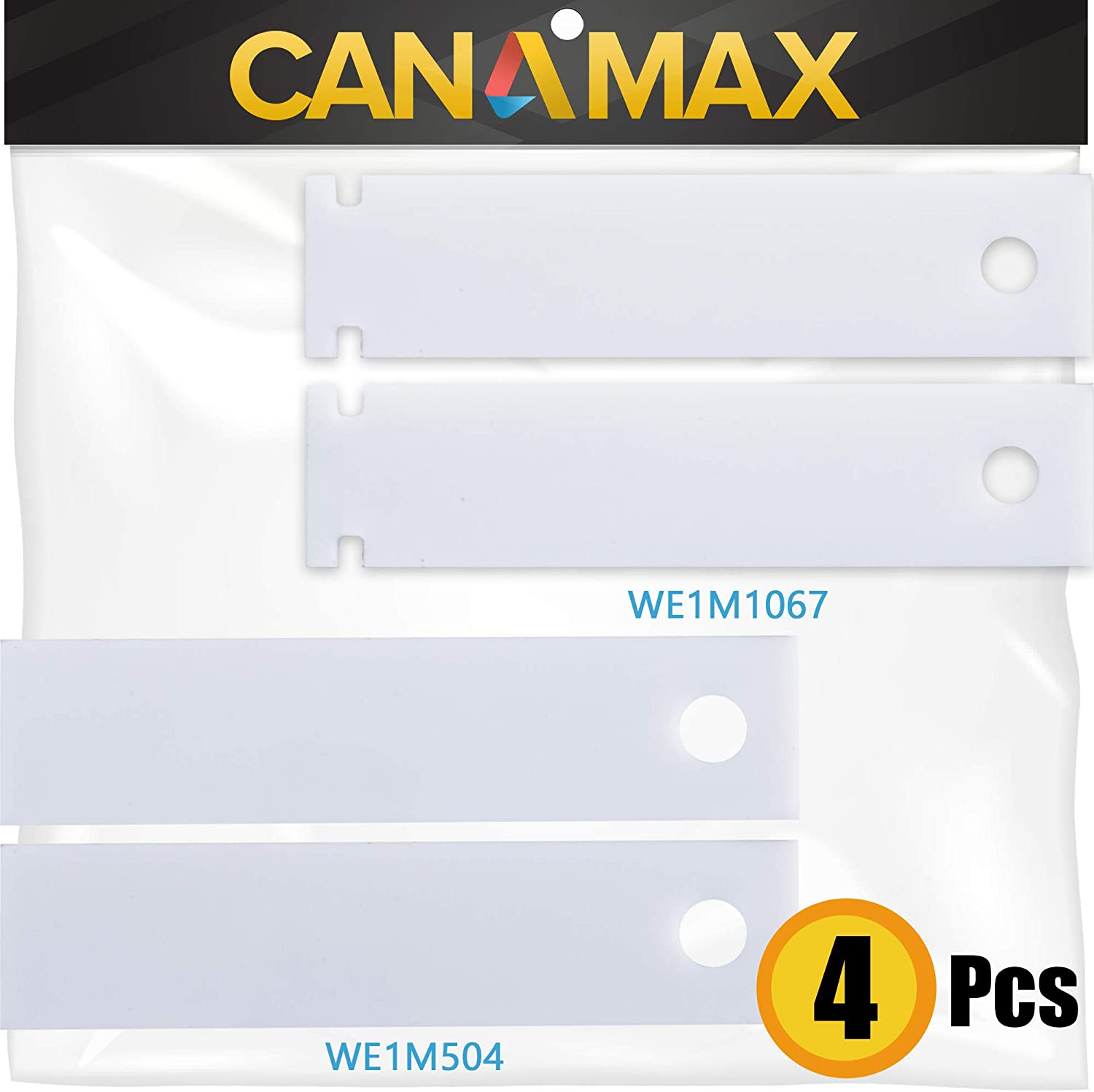 Ultra Durable WE1M504 & WE1M1067 Drum Bearing Slide White & Green Replacement Kit by Canamax - Exact fit for GE & Kenmore Dryers - PACK OF 2