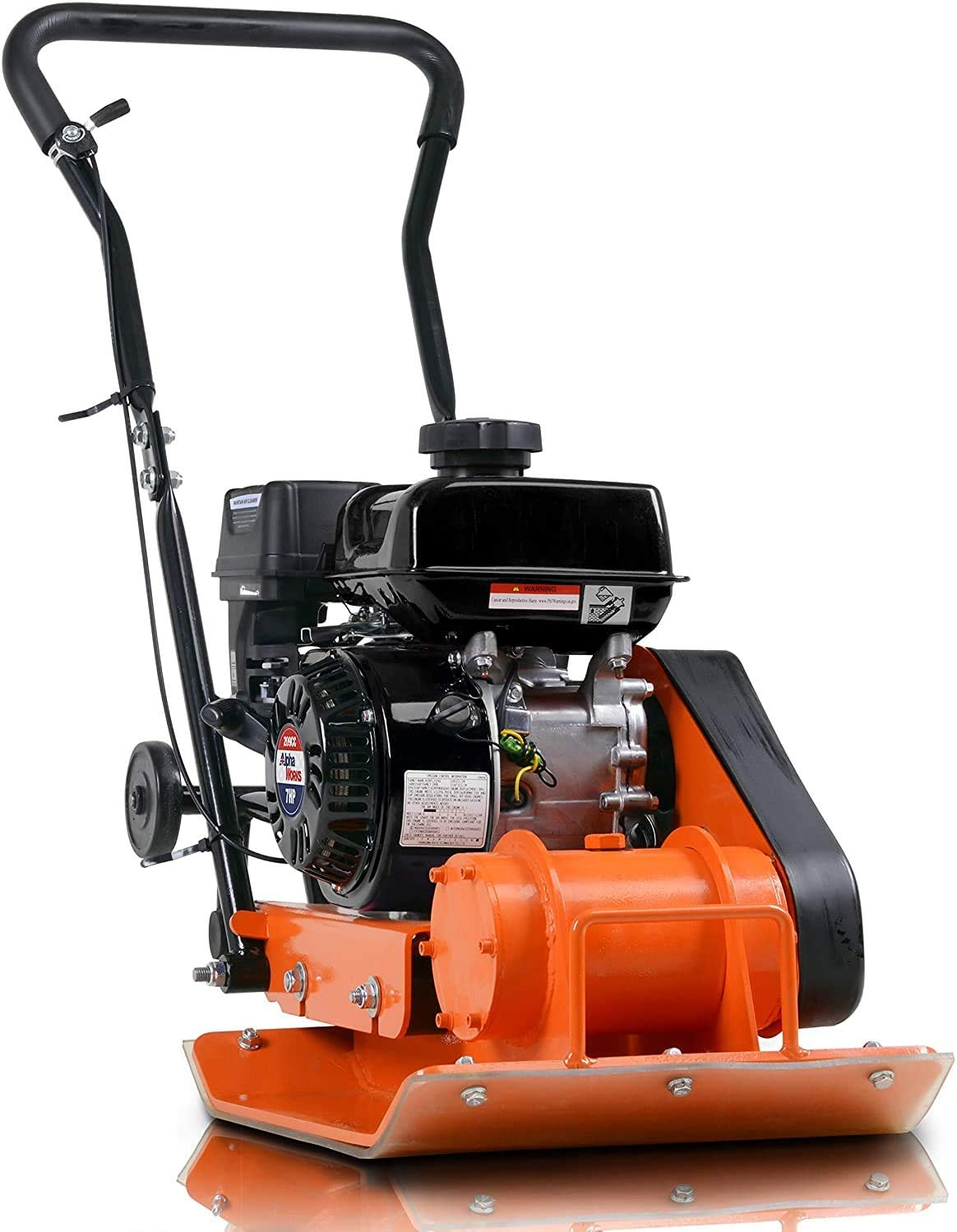SuperHandy Plate Compactor AlphaWorks 7 HP 209cc Gas Engine 4200-Pounds of Compaction Force with 20 × 15 Inch Plate for Paving Projects Landscapes Sidewalks Patios EPA/CARB Compliant