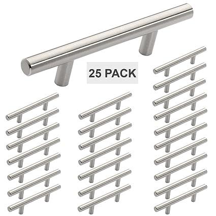 Hamilton Bowes Satin Nickel Cabinet Hardware Euro Style Bar Handle Pull - 3u0026quot; Hole Centers  sc 1 st  Amazon.com & Hamilton Bowes Satin Nickel Cabinet Hardware Euro Style Bar Handle ...
