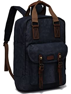 Canvas Laptop Backpack,VASCHY Vintage Waxed Canvas Anti-Theft Backpack for Men Fits 15.6