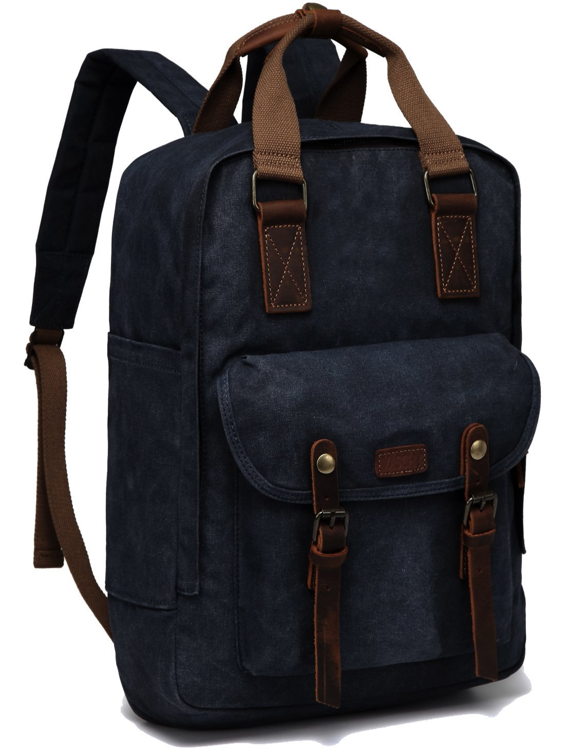 Canvas Laptop Backpack,VASCHY Vintage Waxed Canvas Anti-Theft Backpack for Men Fits 15.6inch Laptop Navy