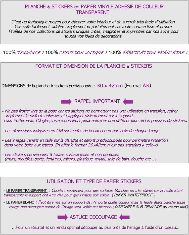 STICKERS D/ÉCORATIFS ZEN pr/é-d/écoup/és Planche /à stickers DIMENSIONS 30x42cm en PAPIER ADHESIF TRANSPARENT