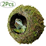 """kathson Reptile Moss Cave Hide for Humidity, 6"""" Mossy Hideout for Turtle Crested Gecko Spider Lizard Frog Chameleon"""