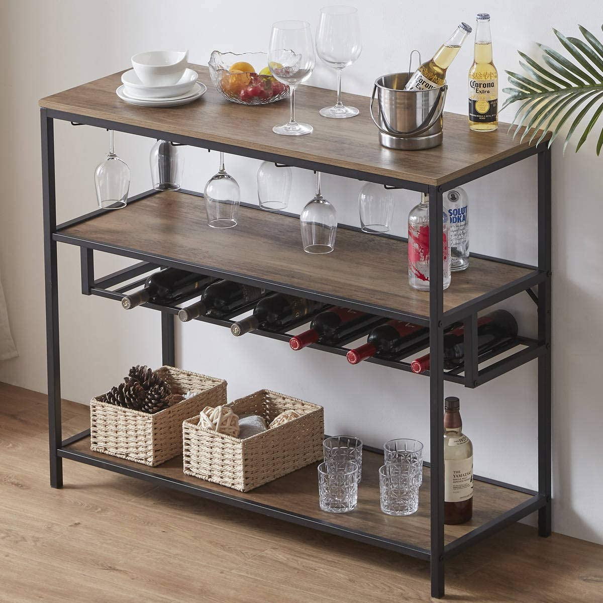 LVB Wine Rack Table, Modern Metal and Wood Wine Bar Cabinet Freestanding Floor, Liquor Wine Storage Stand with Bottle Shelf and Glass Holder for Home Kitchen Dining Room, Rustic Oak, 40 Inch
