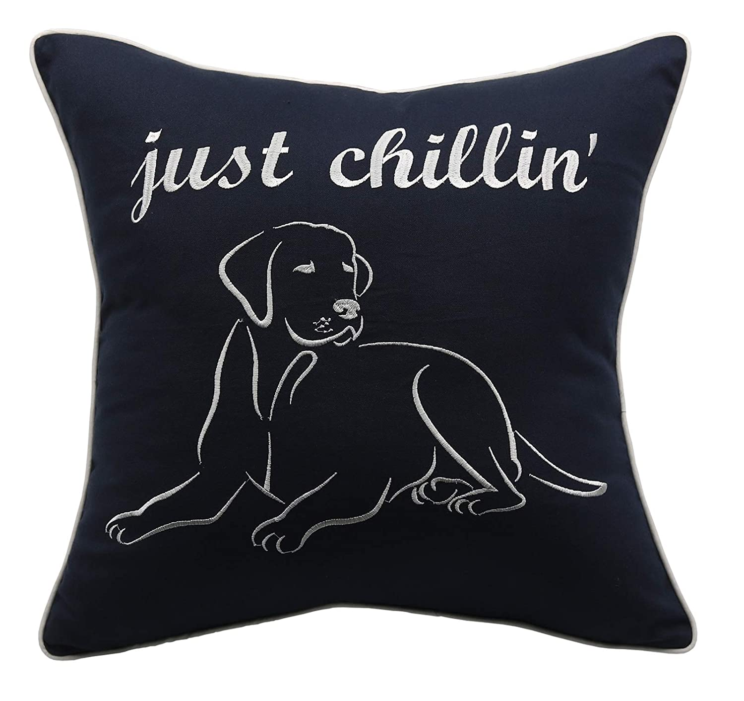 Dog Lovers Gift,Housewarming Gift,Couple Cushion Cover Navy Home Decor YugTex Pillowcases Embroidered Pet Lover Gift You me and The Dogs Throw Pillow Cover 18x18, You me and The Dogs