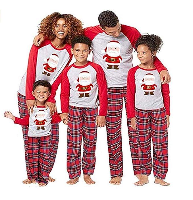 Luoluoluo Pigiama Pigiami Natale Famiglia Pigiami Donna Pigiama Uomo  Pigiama Bambina Invernali - Set di Pigiama Famiglia di Natale - papà Mamma  Bambini ... 701ca67cf42