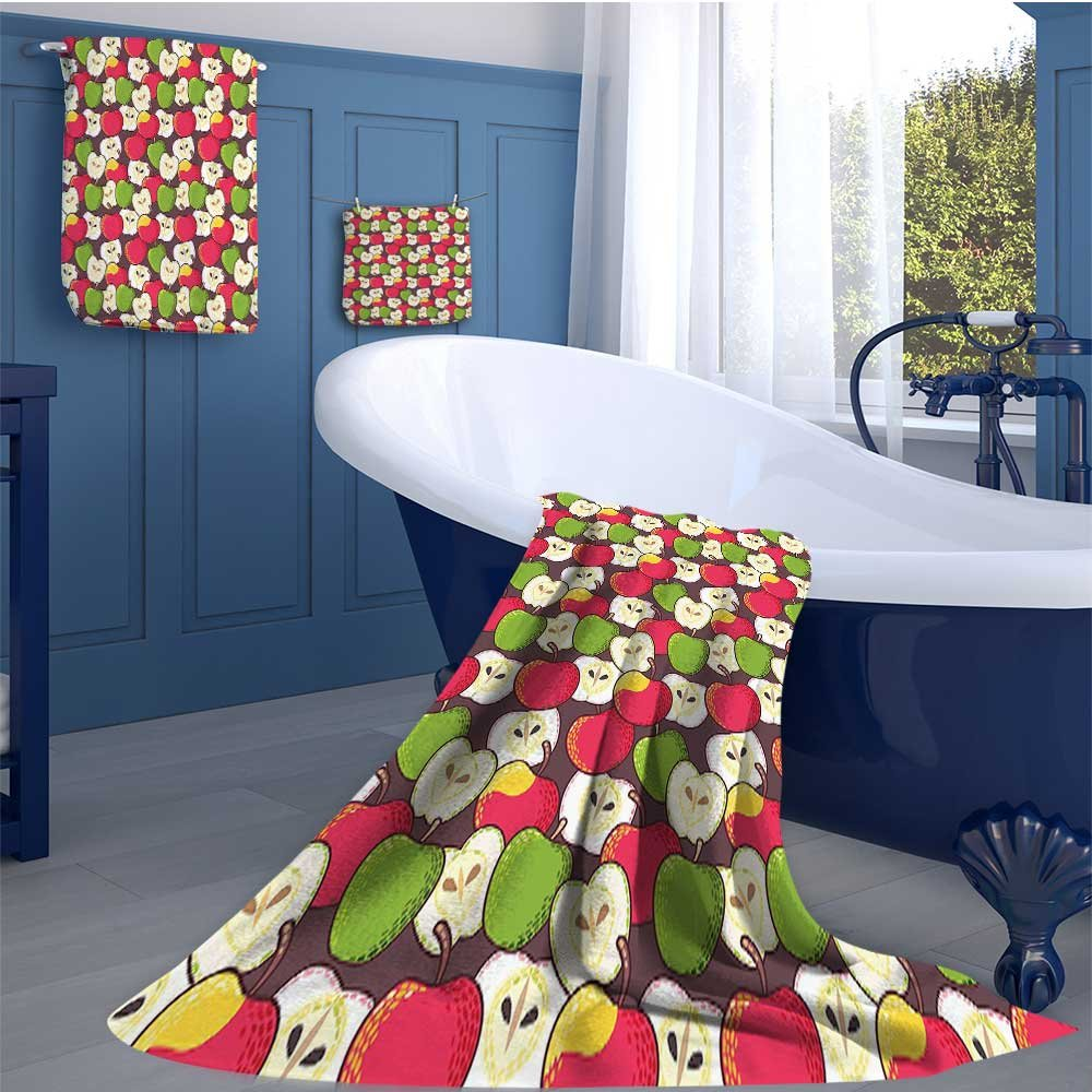alisoso Apple Customized bath towel combination Abstract Red and Green Varieties of Winter Fruits Juicy Vitamin Sources Fresh Food Fun Hand towels set Multicolor