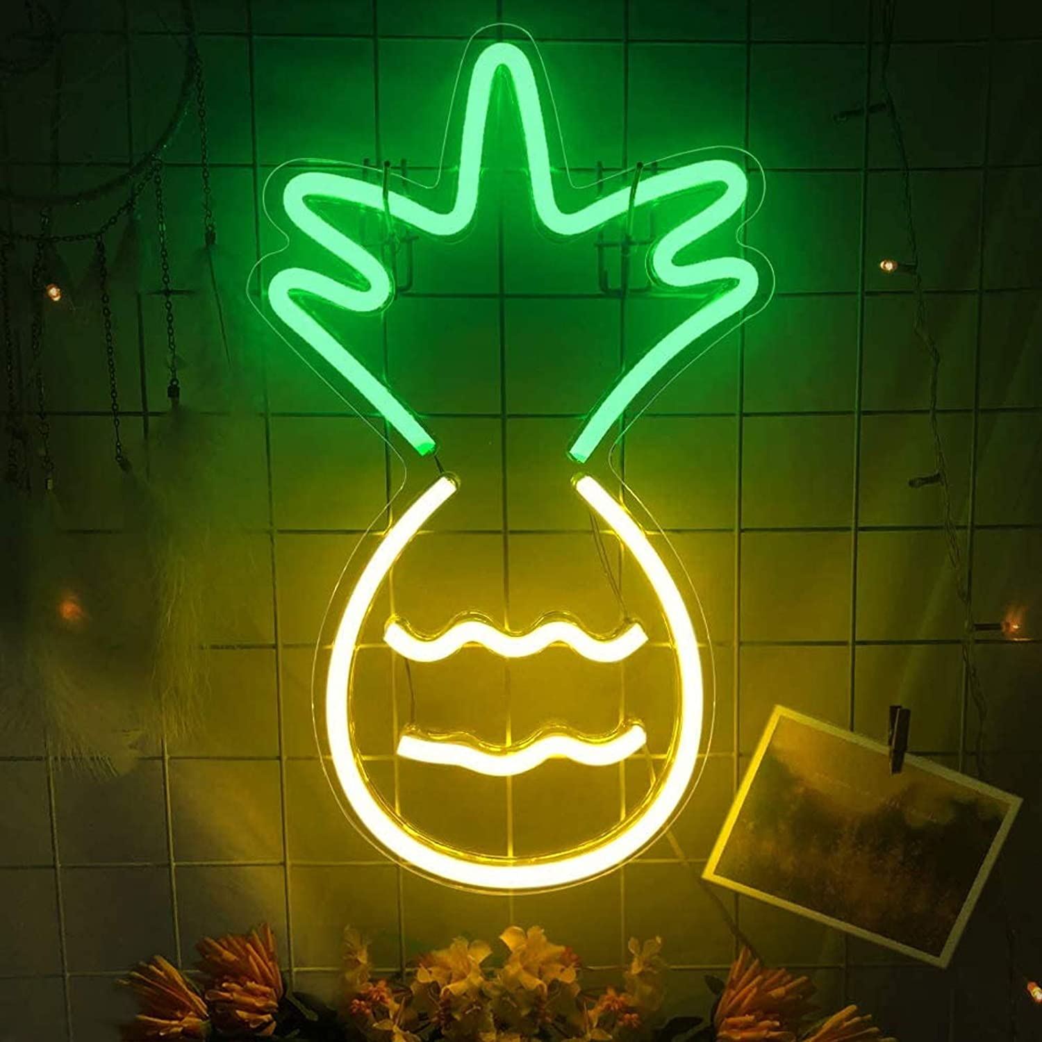 Pineapple Neon Signs- Neon Lights for Wall Decor USB Powered LED Signs Light Neon Signs for Bedroom LED Neon Signs Decorative LED Pineapple Light for Christmas Party Wedding Kids Girls boy Room