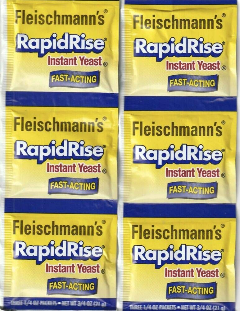 Amazon Com 2 Strips Fleischmann S Rapid Rise Instant Yeast 6 Packs Of 1 4 Oz For Bread Grocery Gourmet Food