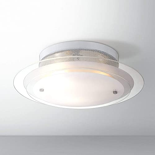 Modern Ceiling Light Flush Mount Fixture Chrome 15 3 4 Wide Clear Frosted 2 Tier Glass for Bedroom Kitchen Living Room Hallway Bathroom – Possini Euro Design