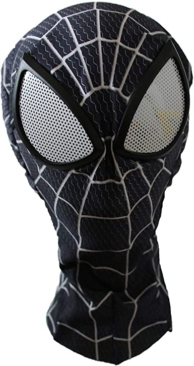 Kid Black Spider-Man Costume Mask with Lense