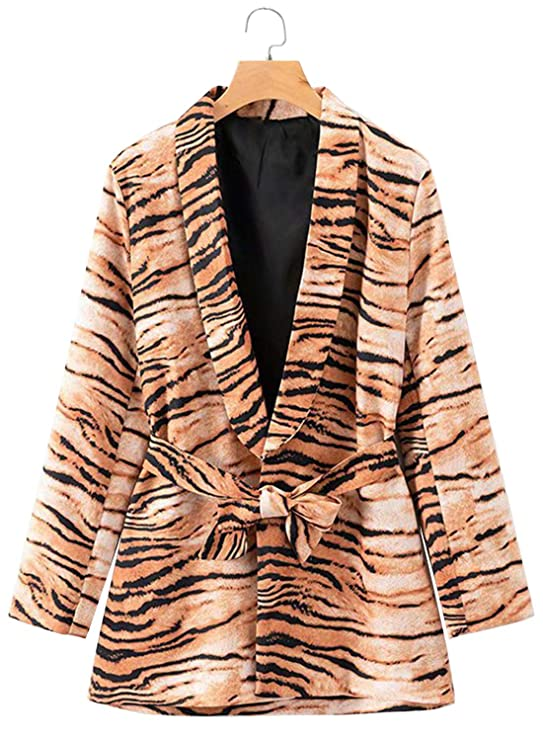 Doballa Women's Animal Print Tiger Long Sleeve Open Front Blazer Jacket With Waist Belt by Doballa