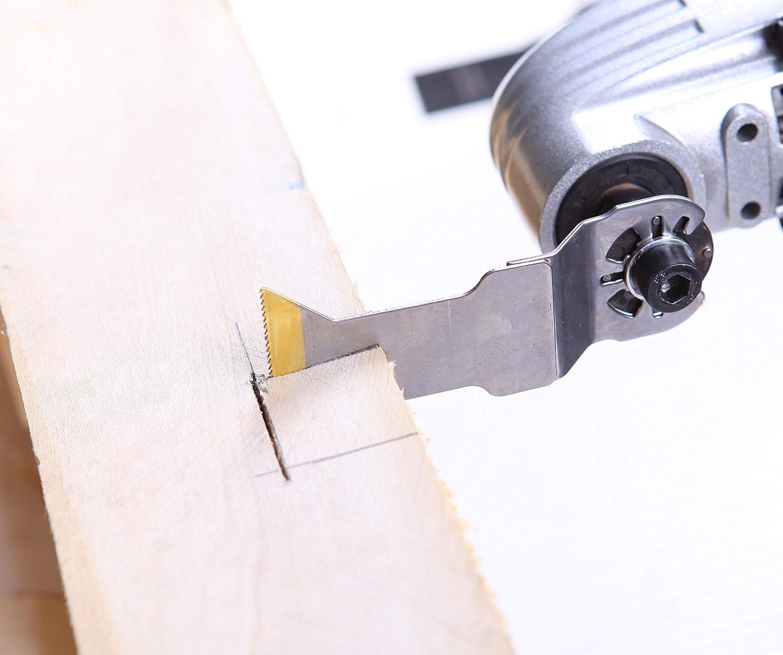3pc EZARC Titanio Accesorios Herramienta Oscilante corte Fuerte Cuchillas de sierra para Material de madera y Metal duro