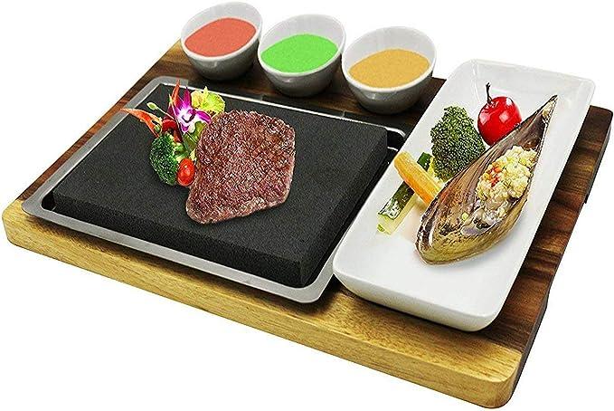 fecihor Premium Lava Piedra caliente cocina plato – juego de ...