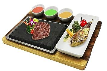 fecihor Premium Lava Piedra caliente cocina plato - juego de piedra de carne y plato, plato de bambú y cerámica lado Salsa cuencos: Amazon.es: Hogar