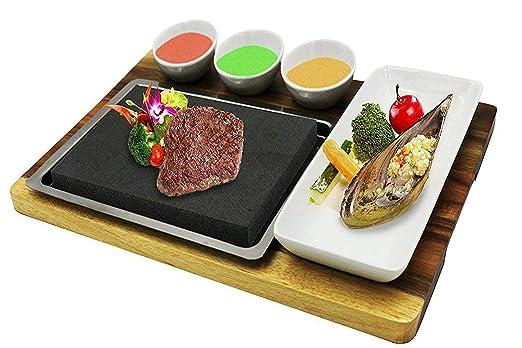 fecihor Premium Lava Piedra caliente cocina plato - juego de ...