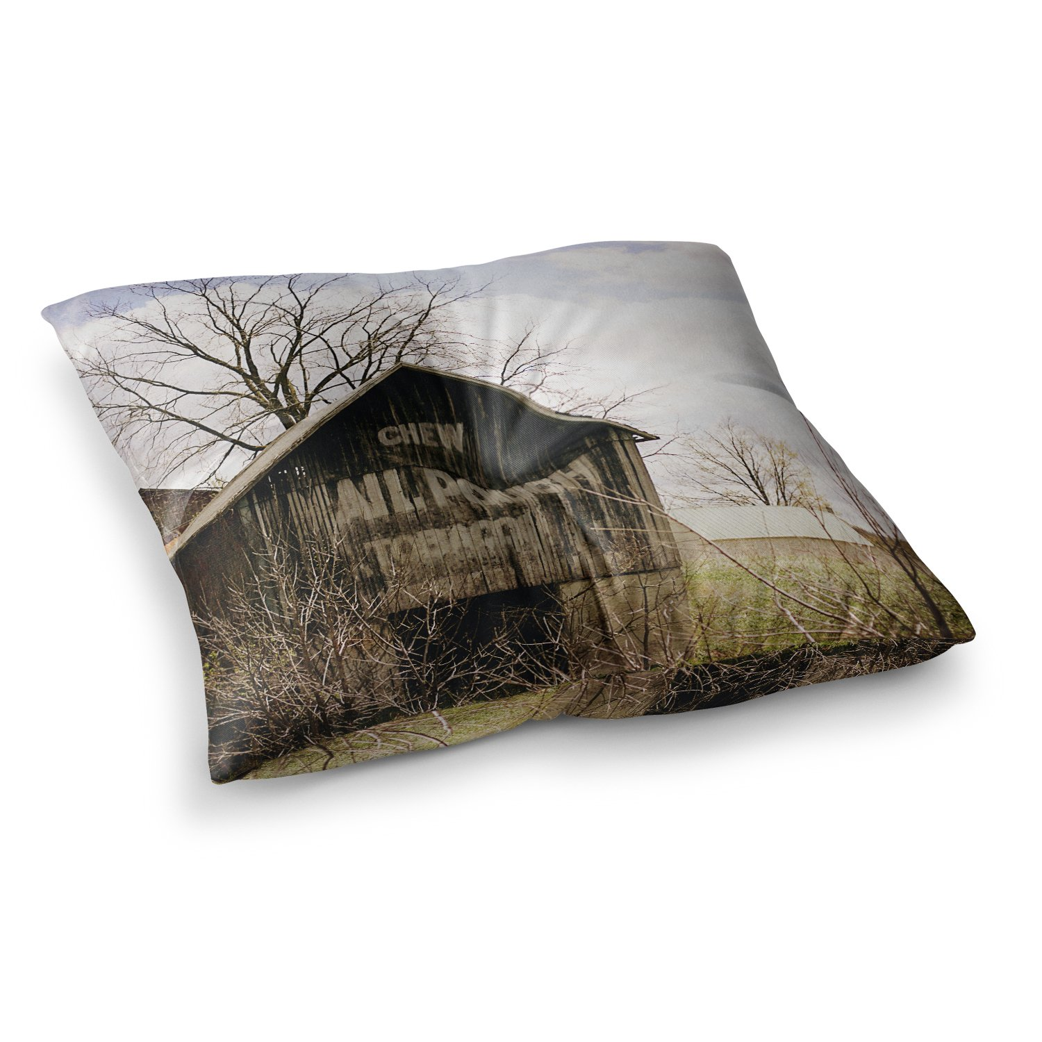 23 x 23 Square Floor Pillow Kess InHouse Angie Turner Mail Pouch Barn Wooden House