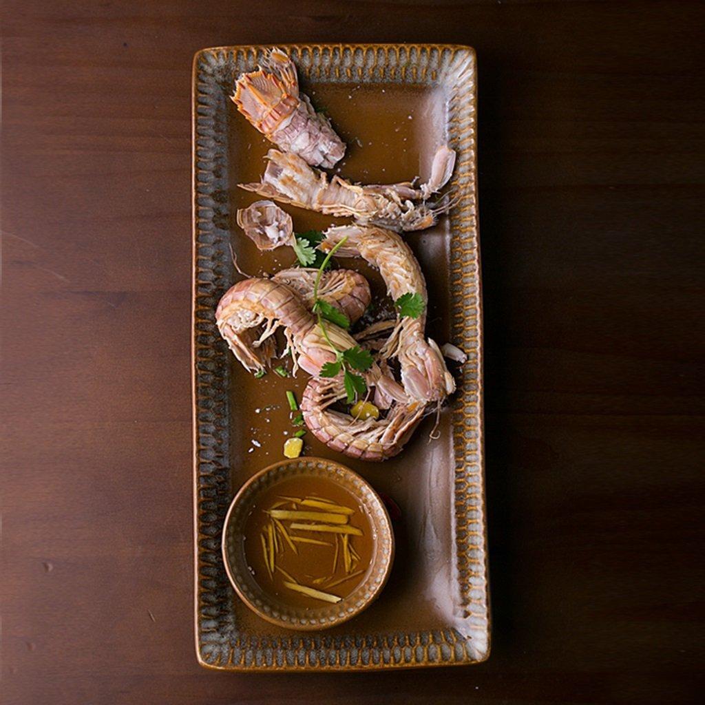 He Xiang Ya Shop Ceramic plate tray brown fish plate soup plate home fruit plate dishware by He Xiang Ya Shop (Image #2)