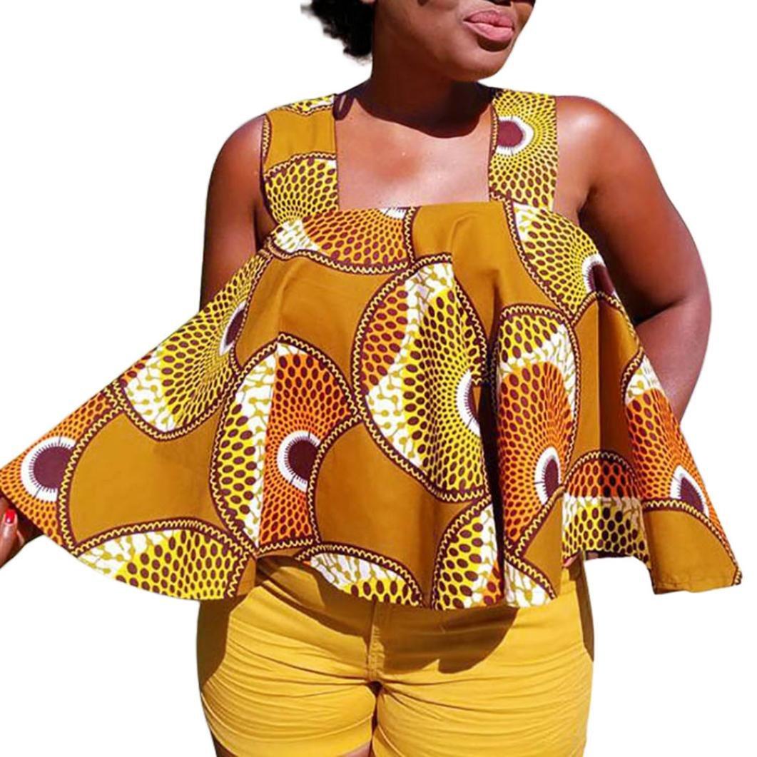 Fathoi 2018 Femme Débardeurs, Femmes Bandage Sangle Impression Africaine Sans Manches Tops Sans Bretelles Chemisier T Shirt LâChe Brodé Strappy Cami Top