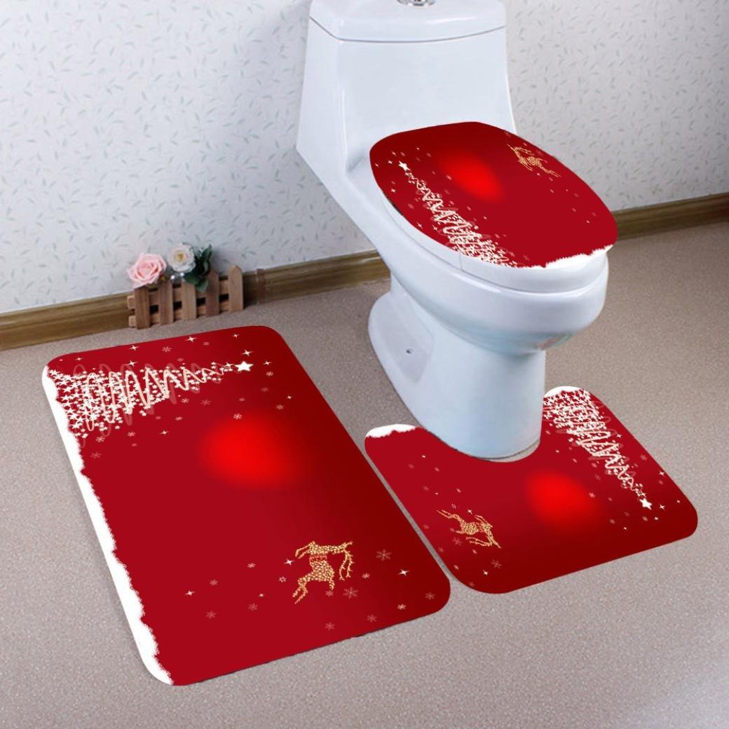 LLguz 3PCS Secure Comfortable Xmas Non-Slip Toilet Seat Cover+Foot Pad+Bath Mat Bathroom Set Christmas Toilet Decor