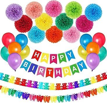 Amazon.com: Colorfull cumpleaños fiesta decoraciones con ...