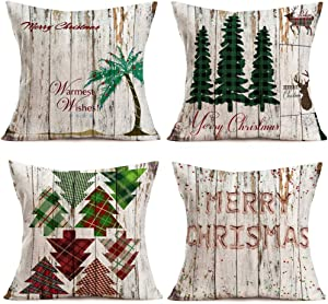 Fukeen Set of 4 Merry Christmas Vintage Wood Decor Pillow Covers Buffalo Check Plaids Xmas Tree Deer Mistletoe Throw Pillow Covers Cotton Linen 18x18 Inch Farmhouse Decorative Cushion Case Gifts
