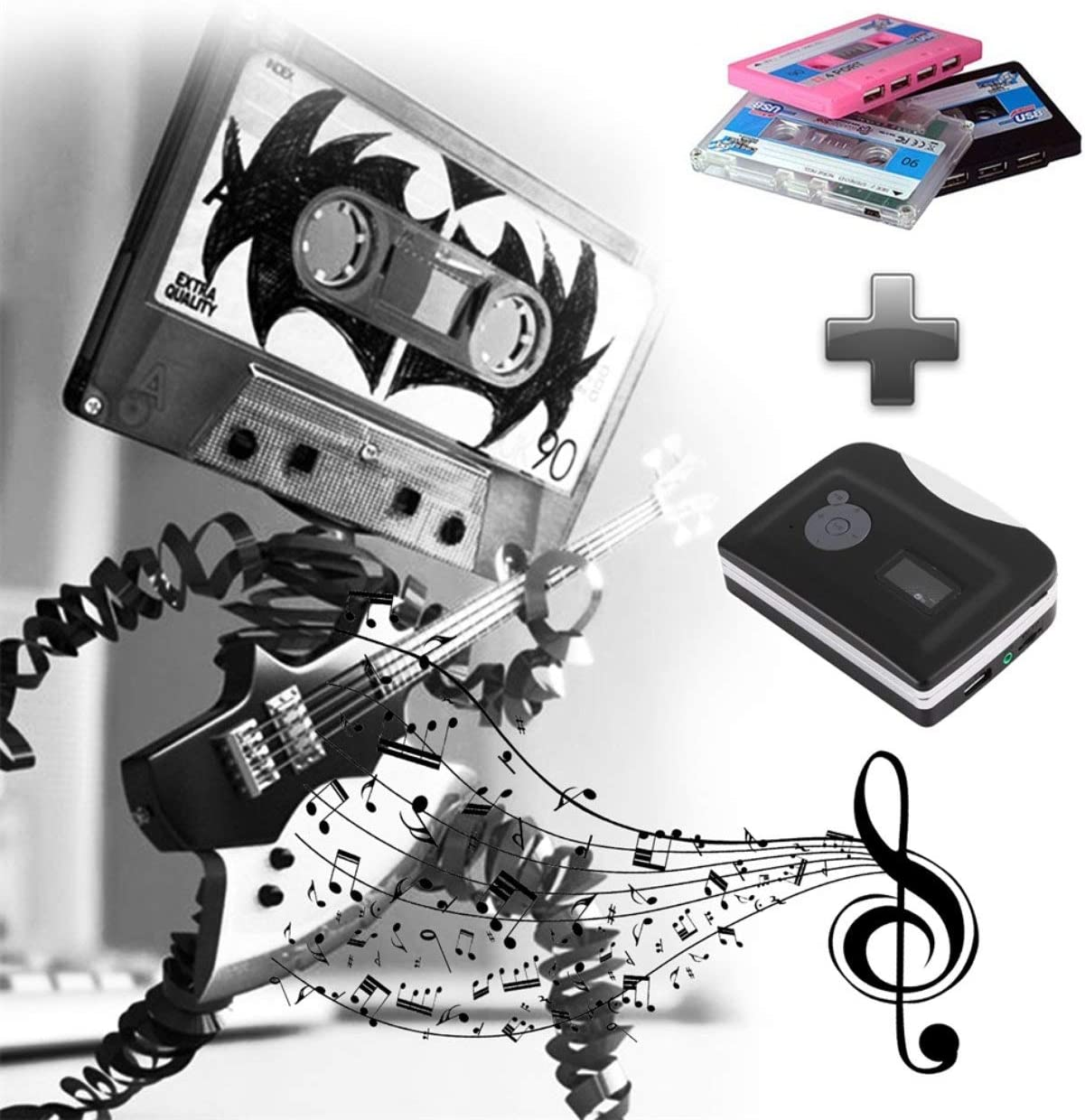 Detectorcatty EzCap230 Cassette Tape to MP3 Converter Conversion Player with Playback Stand Alone Plug and Play Small Size Portable