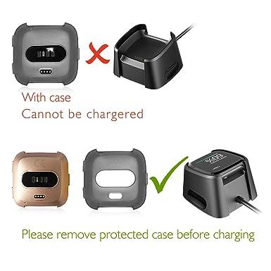 Compatible Fitbit Versa Protector De Pantalla con Carcasa (6+1 Piezas),HEYSTOP Resistente a Los Arañazos,Protector De Pantalla Transparente HD Con TPU Funda ...
