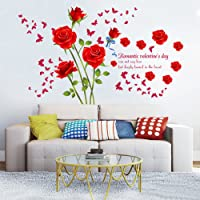 decalmile Vinilos Romántico Roja Rosa Flores Pegatinas Pared Desmontable DIY Decorativos Adhesivos para Sala De Estar…