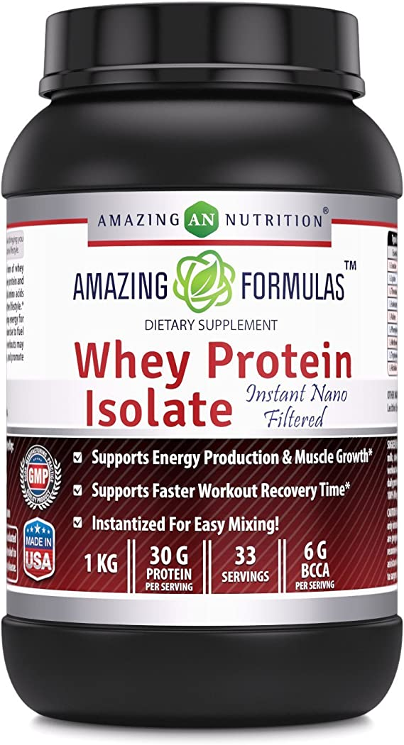 Amazing Formulas Whey Protein Isolate Powder 2 lbs 27g Protein Per Serving - Clean & Pure Unflavored 90% Isolate for Men & Women | Build Muscle Mass & ...