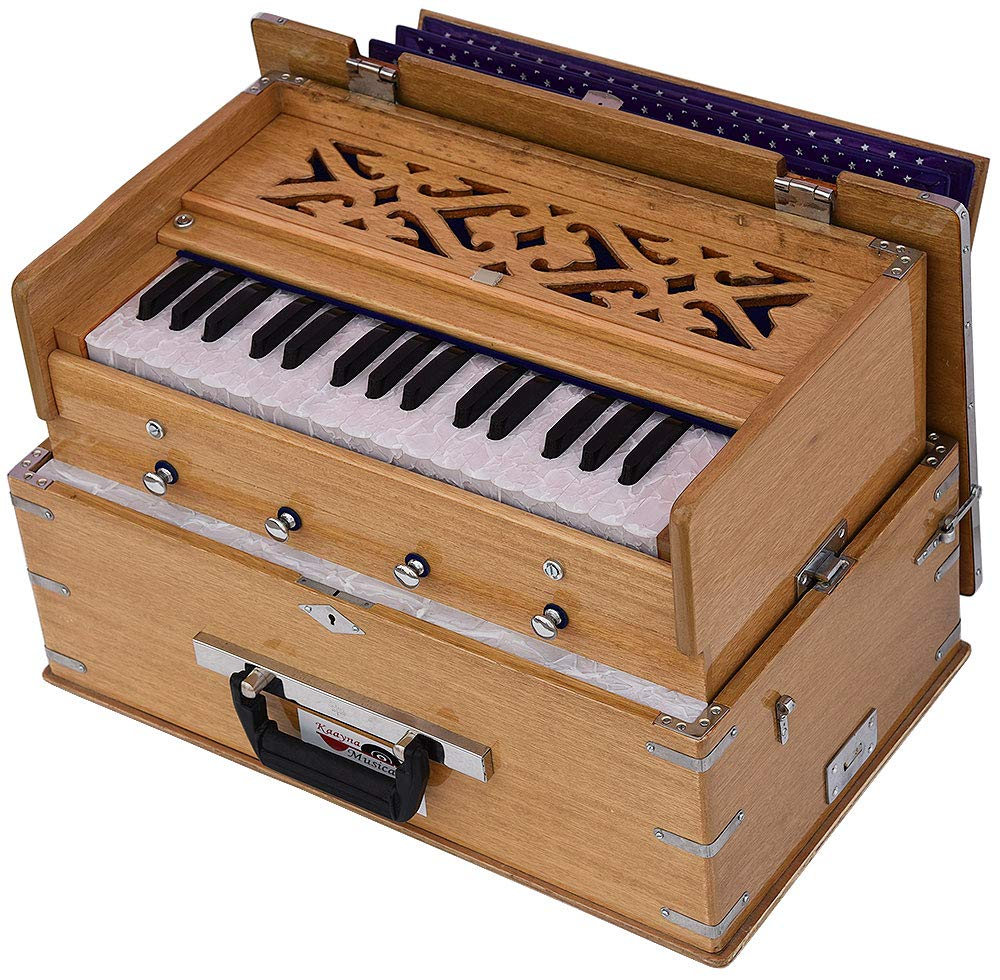 Safri Harmonium- 2¾ Octave By Kaayna Musicals-Portable, Traveler, Baja, 4 Stops (2 Drone), Two Set Reed- Bass/Male, Teak Color, Gig Bag, Tuning: 440 Hz, Suitable for Yoga, Bhajan, Kirtan, Mantra, etc by Kaayna Musicals (Image #7)