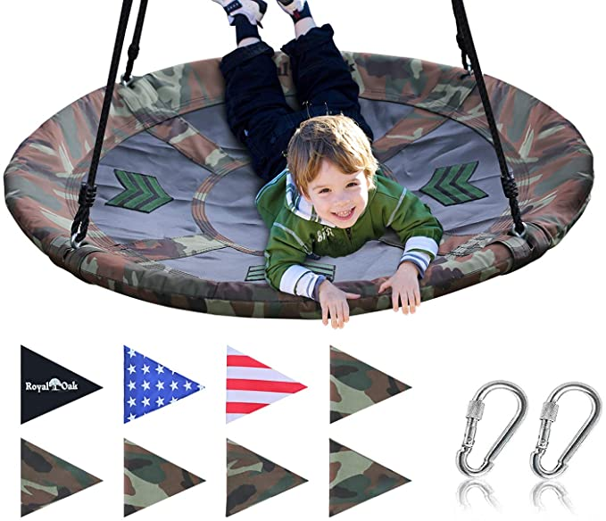 Bonus Flag Set and 2 Carabiners Adjustable Ropes Durable Steel Frame Royal Oak Giant 40 Spider Web Tree Swing Waterproof 600 lb Weight Capacity Non-Stop Fun for Kids!