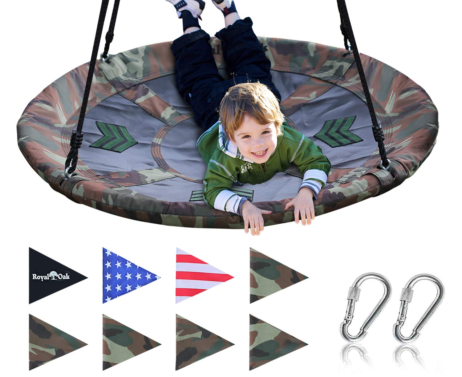 Royal Oak Giant 40 Inch Flying Saucer Tree Swing, Bonus Protective Swing Cover and Flags, 700 lb Weight Capacity, Easy Install, Steel Frame by Royal Oak