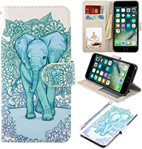 UrSpeedtekLive iPhone 7 Plus/8 Plus Wallet Case, Premium PU Leather Flip Case Cover w/Card Slots & Kickstand for Apple iPhone 7 Plus/8 Plus, Elephant(Official Micklyn Le Feuvre Product)