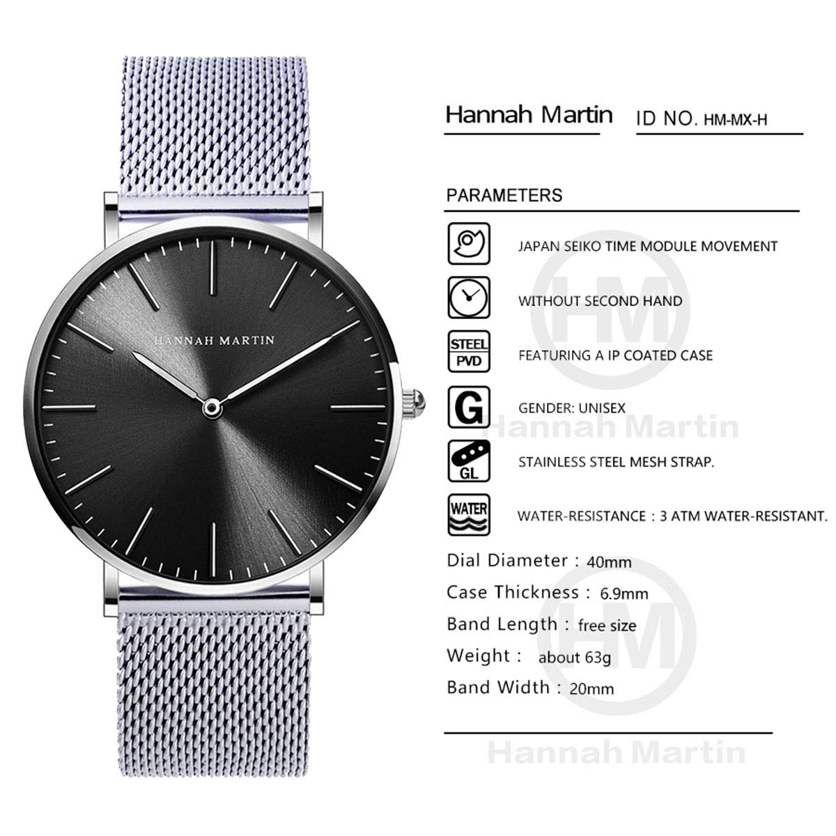 Amazon.com: Hannah Martin Couple Watches Quartz Wrist Watches Stainless Steel Mesh Band 30M Waterproof for Loves Gifts (Silver): Watches